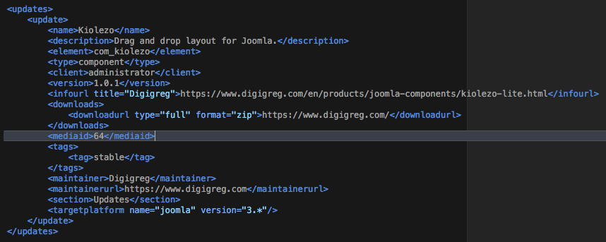 deploying an update server joomla