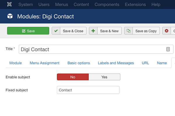 Digi Contact subject field